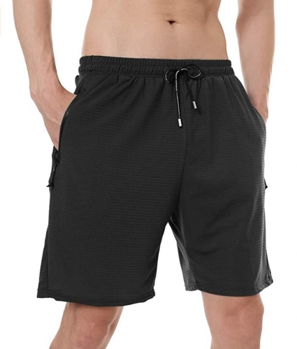 Men's Sports Shorts Breathable Jogging and Training Shorts Fitness Pockets with Zip Tennis Shorts Leisure Sport Style