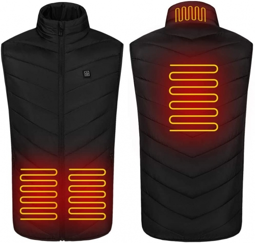 Men's Electric Heated Vest, Electric Heated Jacket USB Charging Heated Warm Jacket with Adjustable Temperature for Outdoor Riding Ski Fishing